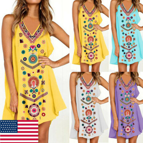 Summer Womens Cotton Mini Dress Sleeveless Boho Beach Casual Floral Sundress US in Dresses from Women 39 s Clothing