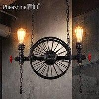 לופט רטרו אמריקאי אמנות תעשייתי גלגל ברזל נברשת מסעדה בר מנורה