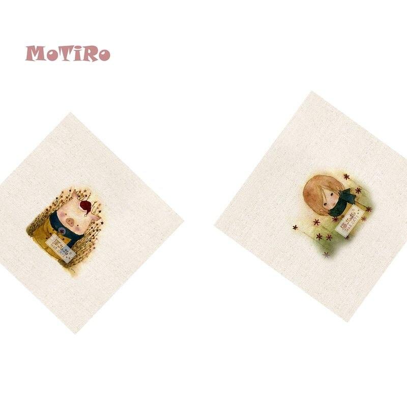 Amiable Motiro,2pcs/lot,cotton Linen Fabric,cartoon Pattern Plain Hand Dyed Cloth Of Table Mat/mouse Pad/apron Pocket/pillow Decoration Home & Garden