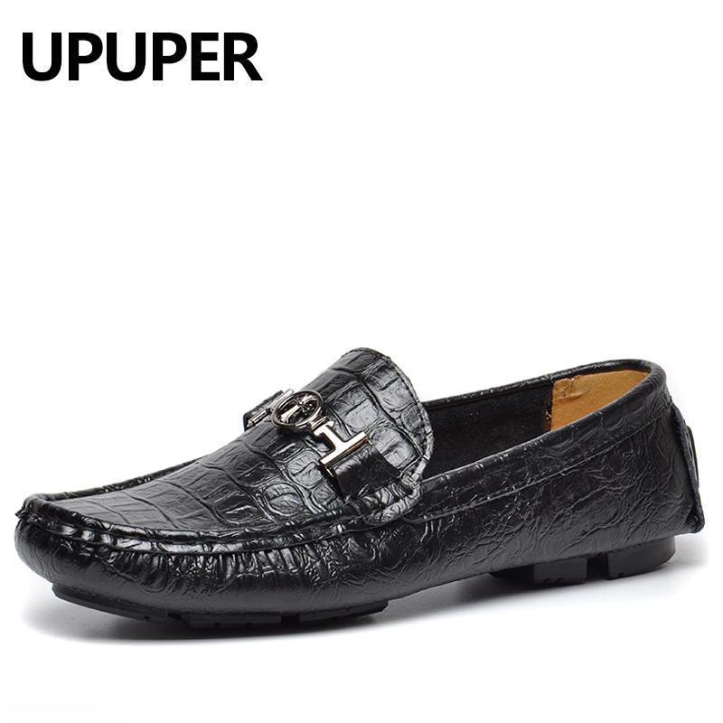 New Genuine Leather Men Loafers Fashion Men's Casual Shoes Slip On Breathable Driving Shoes Male Peas Shoes Plus Size 48 49 50 farvarwo genuine leather alligator crocodile shoes luxury men brand new fashion driving shoes men s casual flats slip on loafers