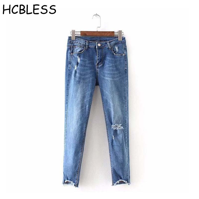 HCBLESS 2018 summer new hair hole irregular pants flashing jeans thin feet pants Slim thin jeans