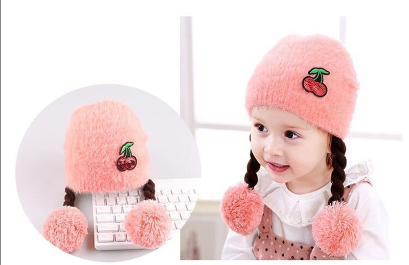 Pink Love Heart Toddlers Infant Baby Girls Headband Hair Band Headwear Wig Hat