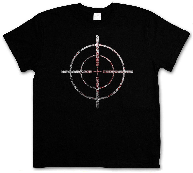 Short sleeve t shirt BLOODY CROSSHAIRS SNIPER T-SHIRT - Call of Crosshair Duty Gun Ego-Shooter Rifle