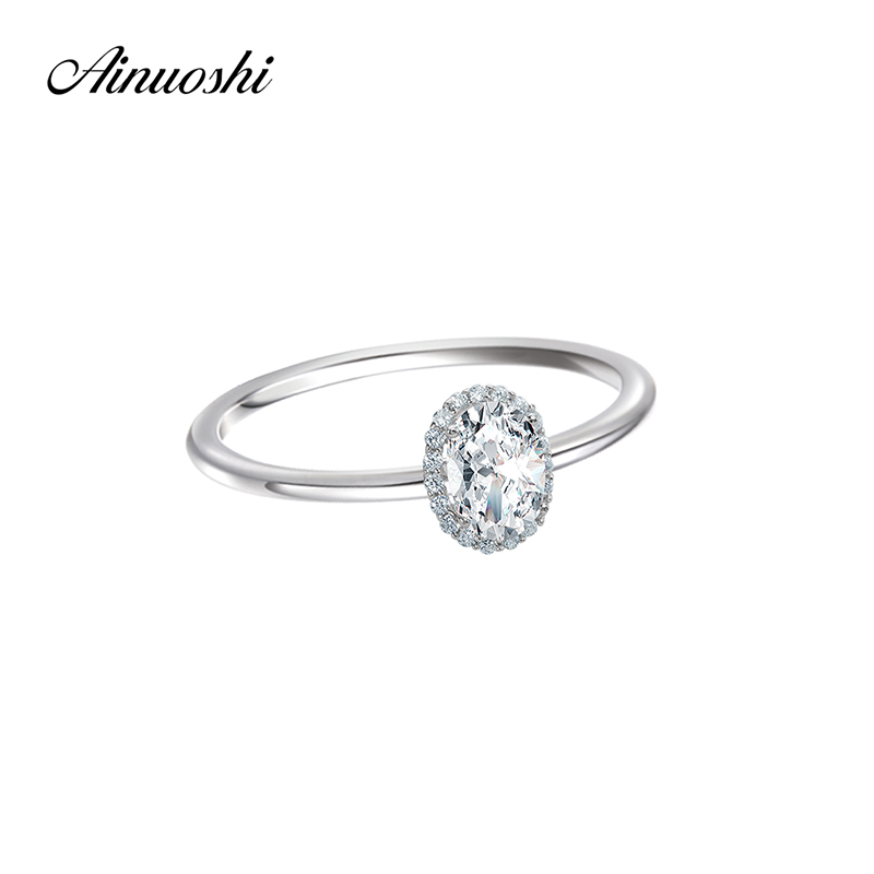 AINOUSHI Oval Cut Halo Solid 925 Sterling Silver Lady Anniversary Engagement Ring 0.75 Carat Fahion SONA Jewelry Wedding Women