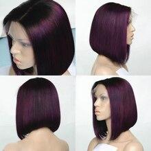 Silk Top Bob Lace Front Ombre Purple Wigs Human Hair Silk Base Brazilian Ombre Bob Cut Wigs Full Lace Human Hair Wig