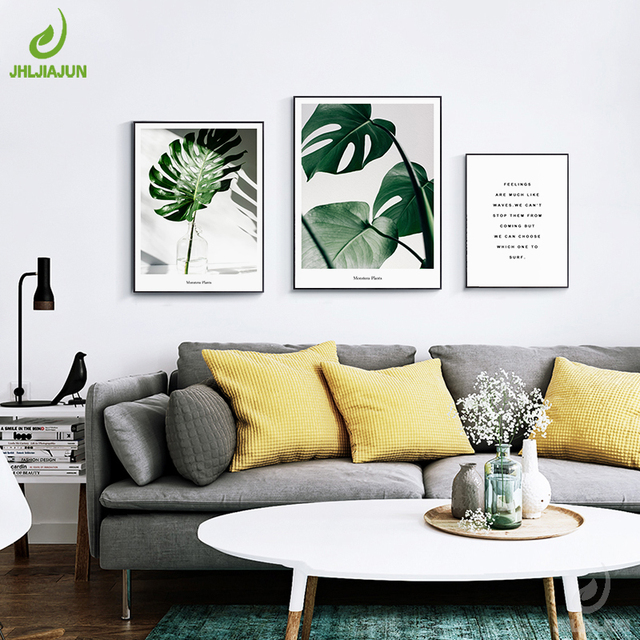 JHLJIAJUN Canvas Painting Green Plants Nordic Minimalist Watercolor Wall Art Canvas Poster Wall Pictures Living Room & JHLJIAJUN Canvas Painting Green Plants Nordic Minimalist Watercolor ...