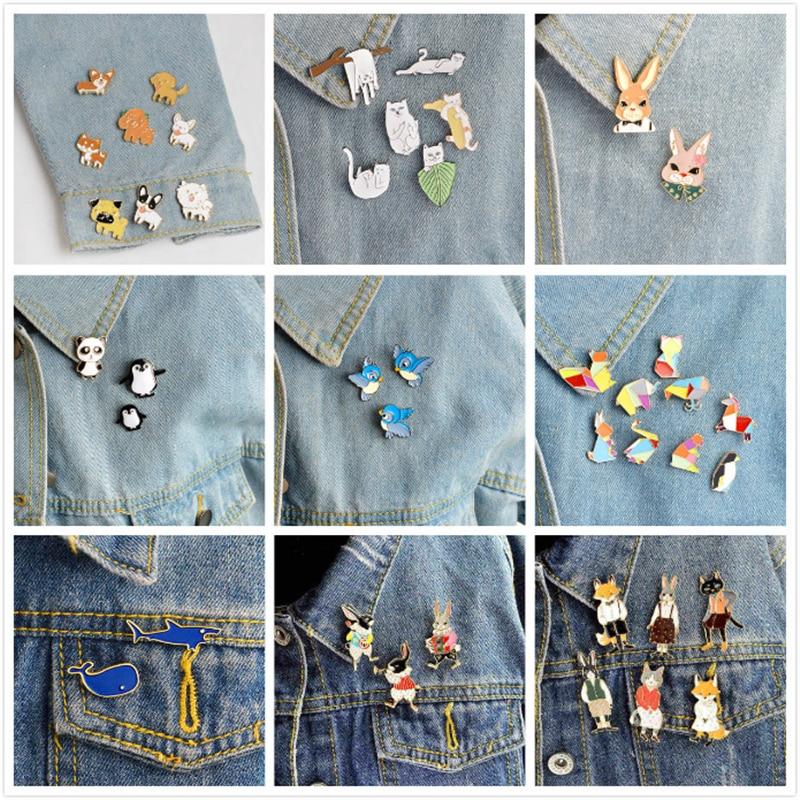QIHE JEWELRY Animal Pin Set Cat Dog Panda Bird Penguin Fox Rabbit Enamel Pins Cute Lapel Pins Kawaii Brooches Animal Jewelry