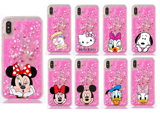 uk availability 1f1bd caf78 US $2.15 20% OFF|Liquid Water Case for iPhone X 7 8Plus Unicorn Mickey  Minnie Mouse Quicksand Glitter Star TPU Cover for iPhone 5 5S SE 6 6S  Plus-in ...