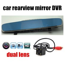 Cheaper Full HD dual lens 4.3 Inch LCD Screen Car DVR Video Recorder Parking Rear View Rearview Mirror Monitor include rear camera