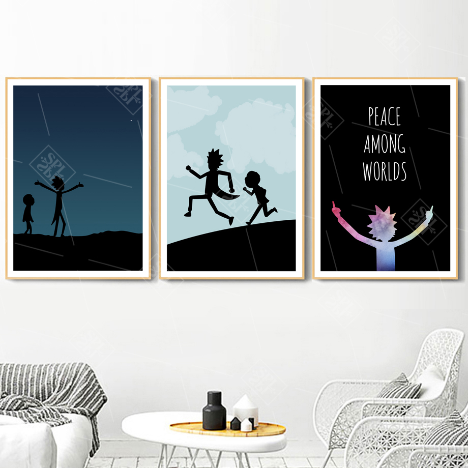 Rick And Morty Peace Among Worlds Canvas Painting Wall Art Print