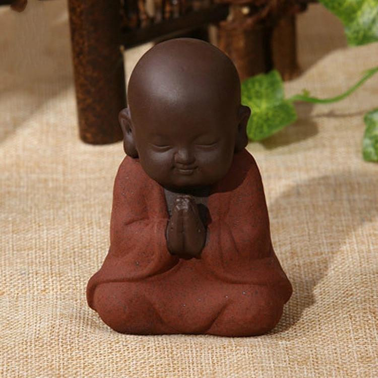 Image 5 - Buddha Statues Small Monk Color Sand Ceramic Home Club Geomantic Decoration Purple  Figurine Tea PetStatues & Sculptures   -