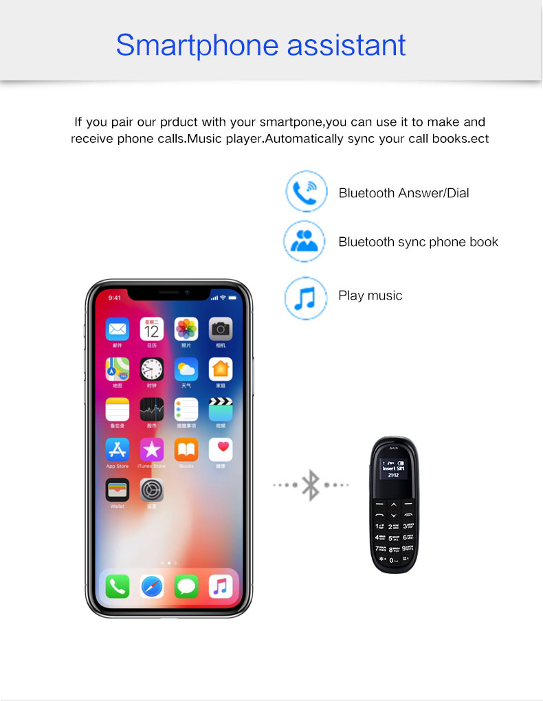 Mini Bluetooth Earphone phone KK1 0.66inch tiny screen bluetooth Dialer Small Size Mobile Phone PK GTstar BM50 BM70