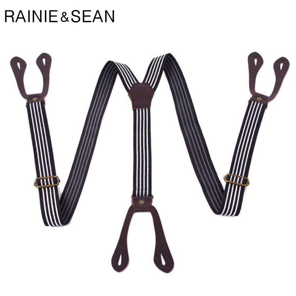 RAINIE SEAN Men Button Suspenders For Shirts Retro Black Y Back Braces Striped Adjustable Male Female Suspenders Trousers Strap