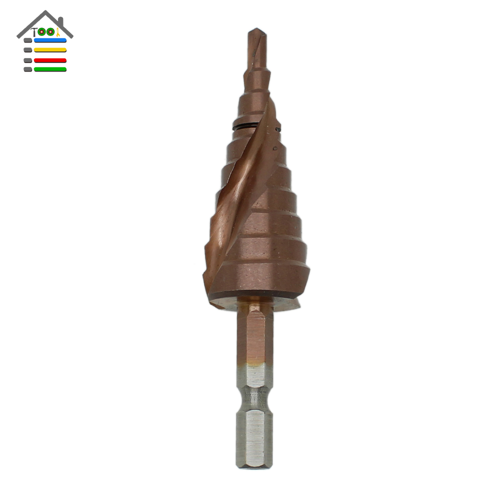 HSS-Co Cobalt Spiral Grooved Step Drill Bits 1/4 Hex Shank Wood Metal Cone Drilling 4-22mm 3-12mm 4-12mm Hole Saw M35 3pcs hss spiral grooved step drill bits round shank 4 12 4 12 4 20 step drill