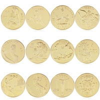 Gold Plated Twelve 12 constellation Commemorative Coin Collection Physical Gift For Friend W store Sep11_C