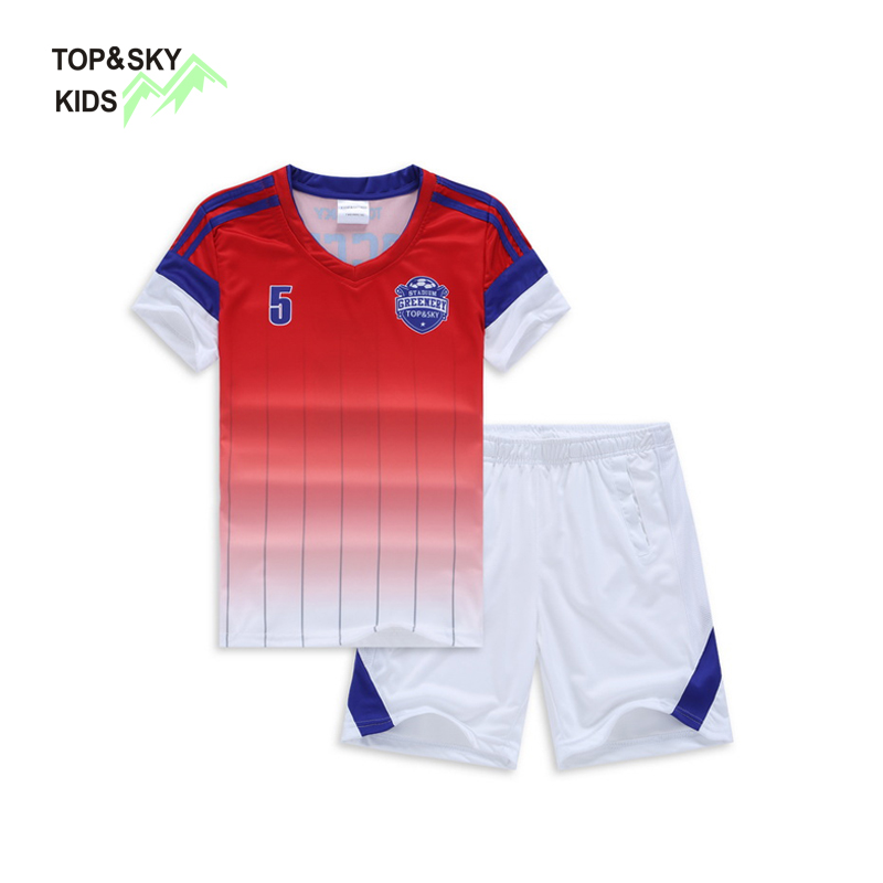 TOPSKY 2PCS Summer Kids Playing Football Clothes Suit Set Boys Girls Student Soccer Unif ...