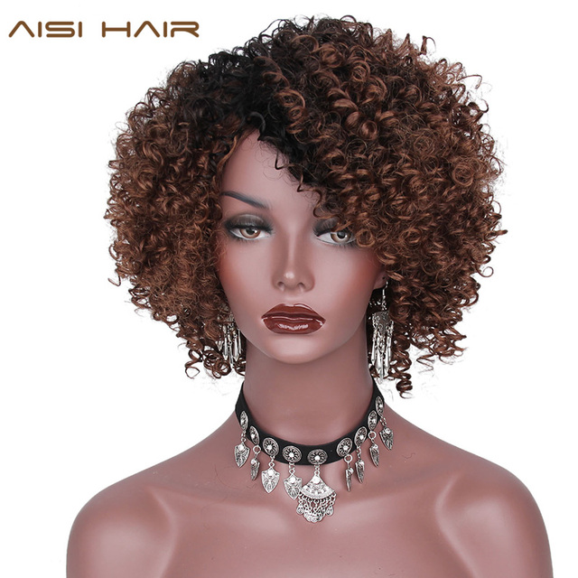 Aisi Hair Synthetic Ombre Brown Short Wigs For Women Afro Kinky