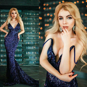 Image 2 - Sexy Silver Sequined Maxi Party Dress Stretch Floor Length Navy Sequins Backless Padded Bodycon V Neck Full Lining Black Dress