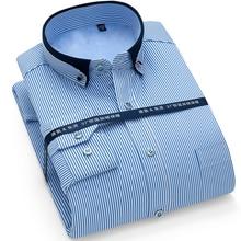 Winter Warm New Arrived mens work shirts striped Brand Long sleeve social men dress shirt white black male Plus size