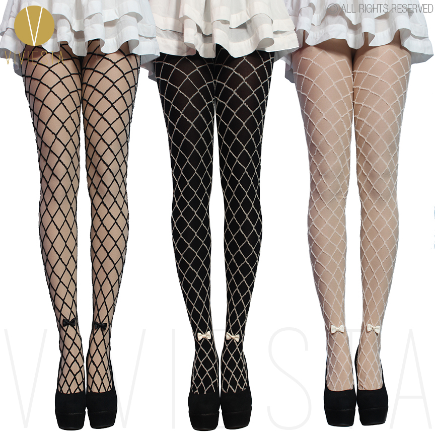 Mock Fake Net Tights With Bow 80d Thick Quality Womens Girls