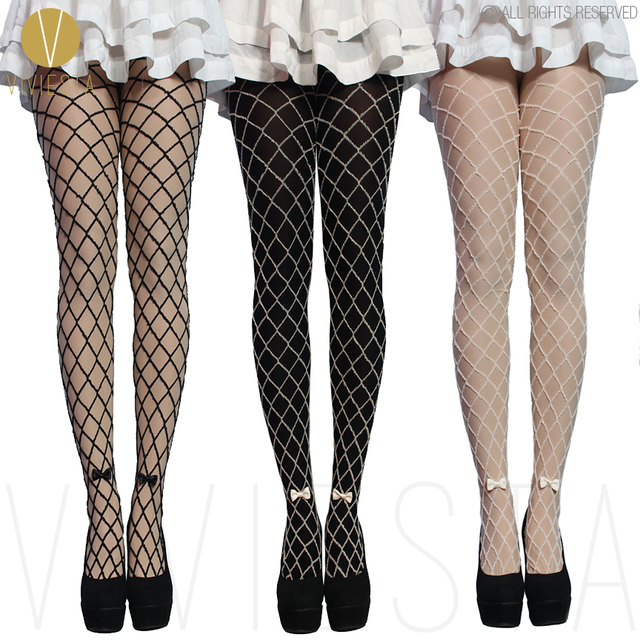 d7c7eb4b77a MOCK FAKE NET TIGHTS WITH BOW - 80D Thick Quality Women s Girls  Winter  Cute Sexy Black Fishnet Crochet Stockings Pantyhose