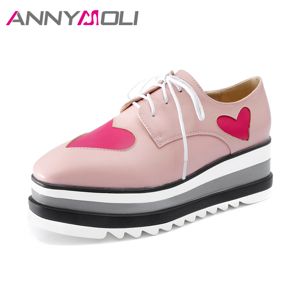 ANNYMOLI Platform Shoes Women High Heels Wedges Pumps Hearts Shoes 2018 Spring Lace Up Casual Shoes Square Toe Big Size 42 Pink big size high heels round toe women platform shoes cool casual white lace wedge black creepers medium pumps mesh chinese fashion