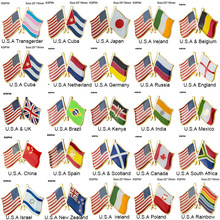 Amerika Serikat Cross Bendera Kerah Pin Bendera Lencana Bros Natinal Kerah Pin Bendera Kerah Pin Negara Bendera Lencana(China)