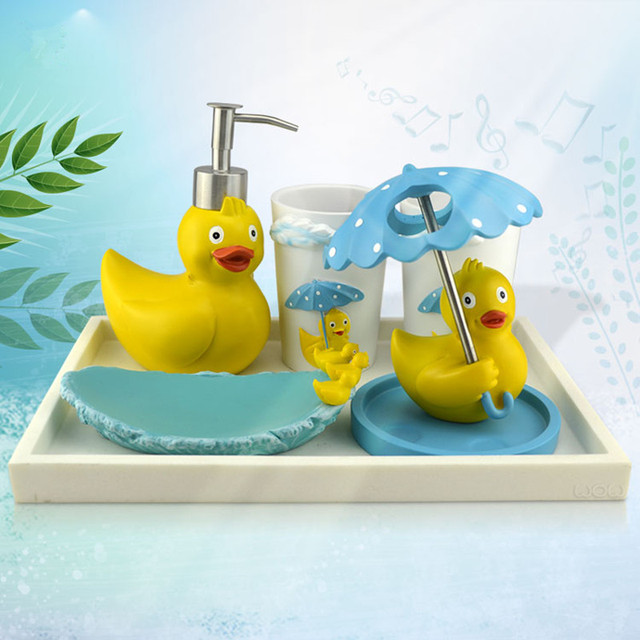 Incroyable Hot Giant Rubber Duck Resin Bathroom Set Five Pieces Bath Set Toothbrush  Holder Family Set Free