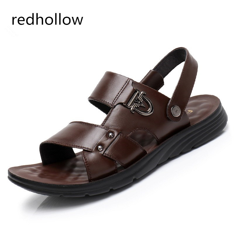 Fahsion Summer New Soft Male Sandals Leather Slip on Shoes For Men Breathable Beach Casual Quality Walking Sandal