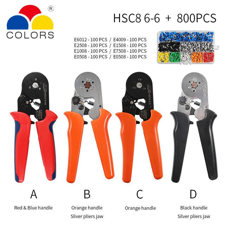 KKmoon Alicates crimpadora Kit HSC8 6-4 0,25-10 mm2 AWG23-7 Kit de herramientas para crimpado de punta de alicates de alta dureza con terminal de crimpar para terminales 1200 piezas
