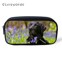 ELVISWORDS Kids Pencil Case Labrador Pattern Students Stationery Box Kawaii Animal School Supplies Pen Bags Cartoon Beautician