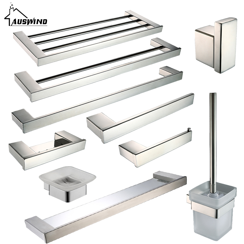 Simple Modern SUS 304 Stainless Steel Bathroom Hardware Set  Polished Silver Paper Holder Towel Bar Bathroom Accessories Sets