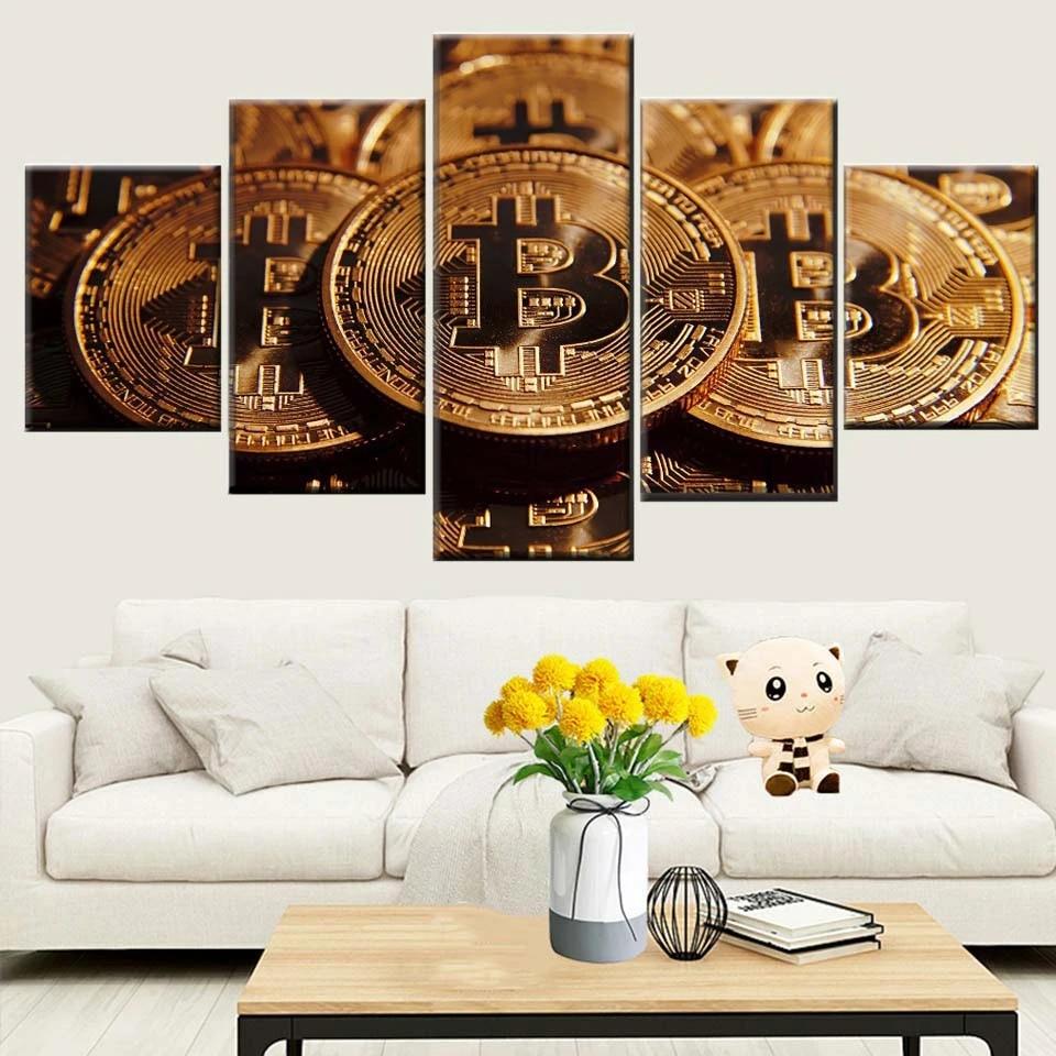 5 Pieces Bitcoin Money Canvas Wall Art Crypto Coin Money Poster Decoration New