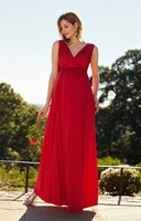 Hot Red Long Chiffon Empire Prom Dress For Pregnant Woman Charming V Neck Evening Party Gowns