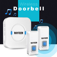 DAYTECH Waterproof Wireless Doorbell Kit With 2 Push Buttons And 1 Plugin Receivers Operating At 300M