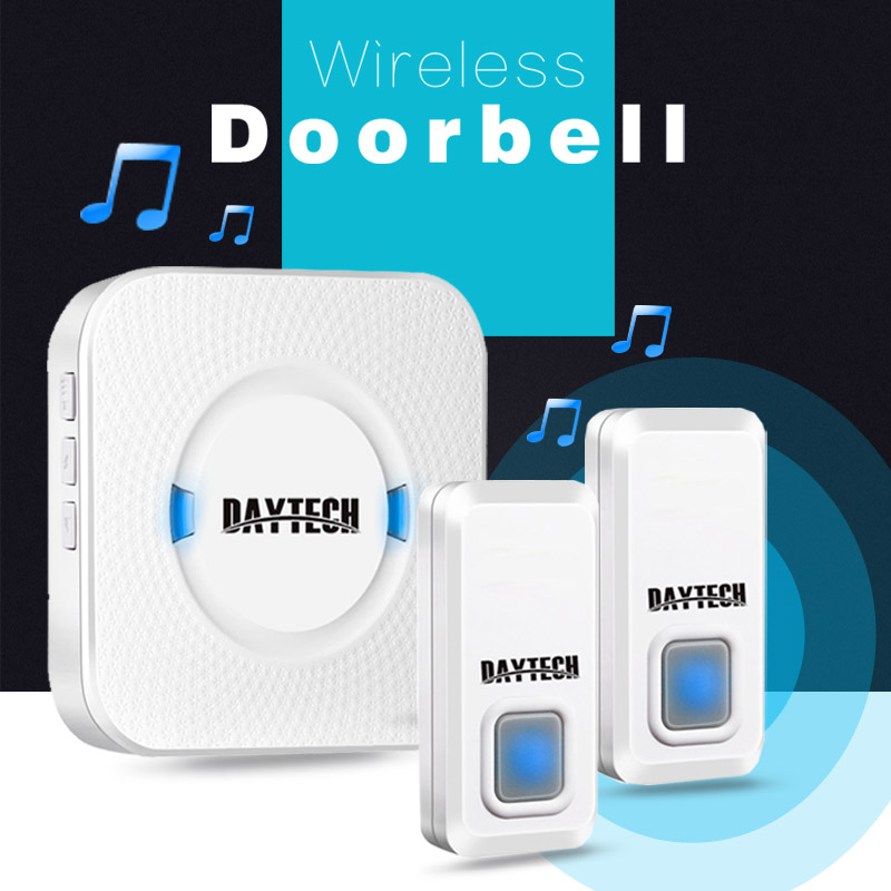 DAYTECH Waterproof Wireless Doorbell Kit With 2 Push Buttons And 1 Plugin Receivers Operating At 300M Range 55 Ringtones