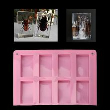 8 Cavities Rectangle Cuboid Silicone Mold Soap Dried Flower Resin DIY Tools