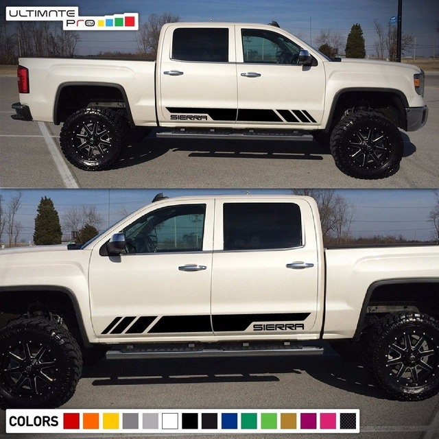 For 2x Decal Sticker Stripe Kit Gmc Sierra Headlight Led 2017 Grill Door Cover Car Styling