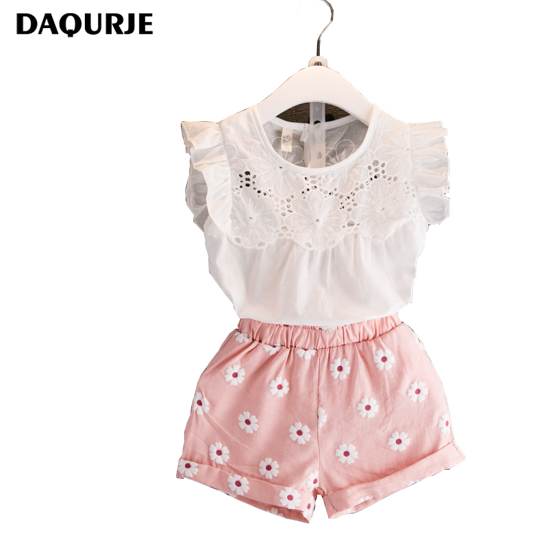 DAQURJE Summer Children Clothing Sets Girls Clothes T-Shirt+Shorts Girl Tracksuits Costume 2-6 Years Kids Ensemble Fille