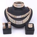 New Arrival African Costume Gold Plated Jewelry Sets Women Wedding Bridal Crystal Necklace Earrings Ring Dubai Jewelry Set