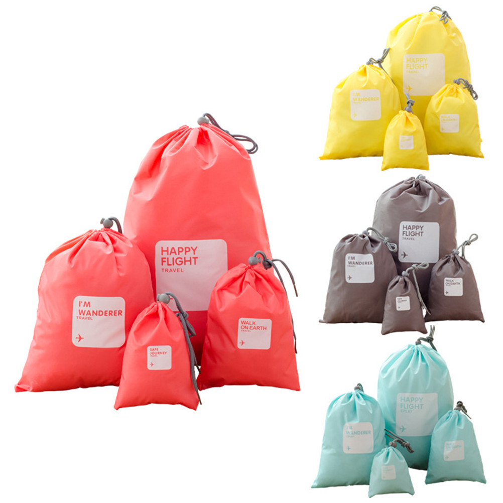 4pcs/set Portable Clothes Cosmetic Packing Bags Travel Drawstring Bag Outdoor Waterproof Luggage Organizer
