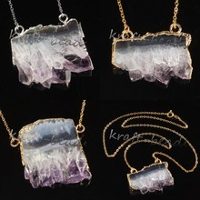 Wholesale 5Pcs Silver/Gold Plated Natural Druzy Amethyst Quartz Crystals Reiki Stone Pendants Necklace Jewelry