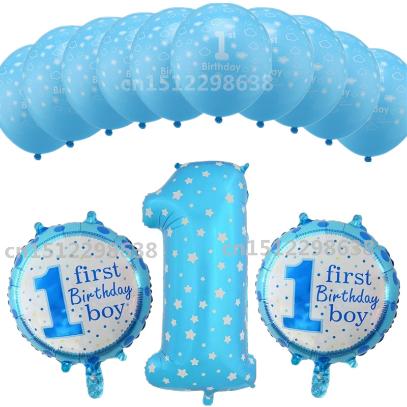 13pcs/lot 1 Year Old Baby Shower Birthday Number 1 Foil Balloons Boy Girl Dot Latex Balloon Kids Birthday Party DIY Decorations