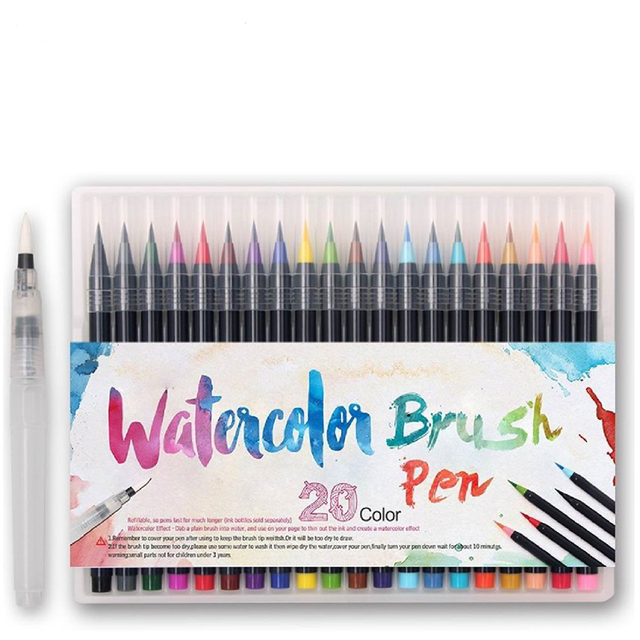 US $18.28 31% OFF 20 Color Painting Soft Brush Pen Set Watercolor Markers  Pen Effect Best For Coloring Books Student Art Painting Supplies-in Art ...