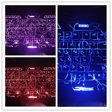 Original Russian English Version Gaming Keyboard Red/Purple/Blue LED 3 Color Backlit Multimedia Ergonomic for Large-Scale Game