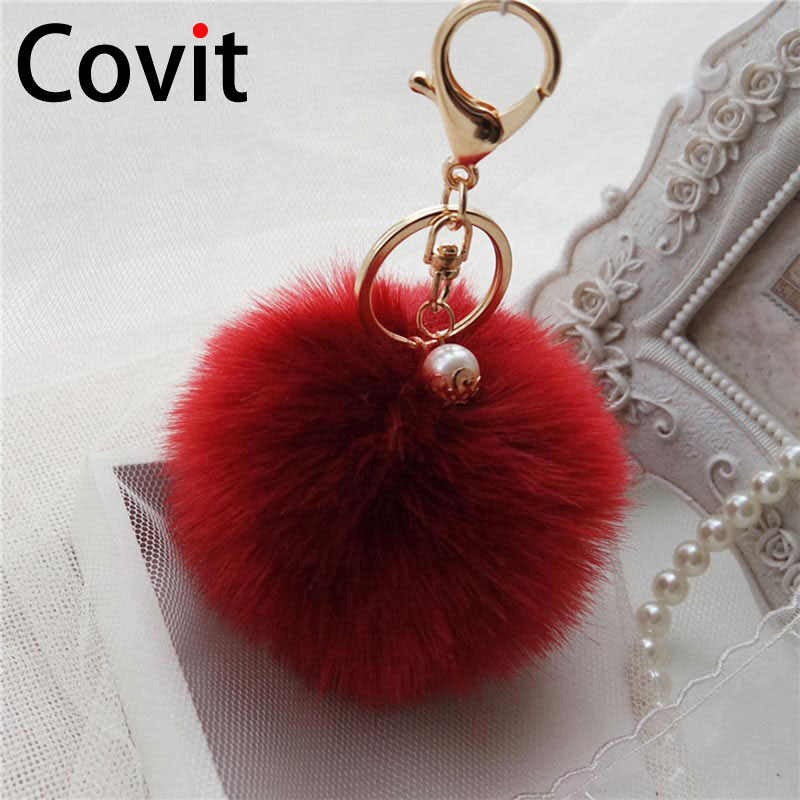 Covit супер пушистый меховой шар брелок кольца милый помпон женский брелок подвеска Украшение сумка Аксессуары Рождественский подарок