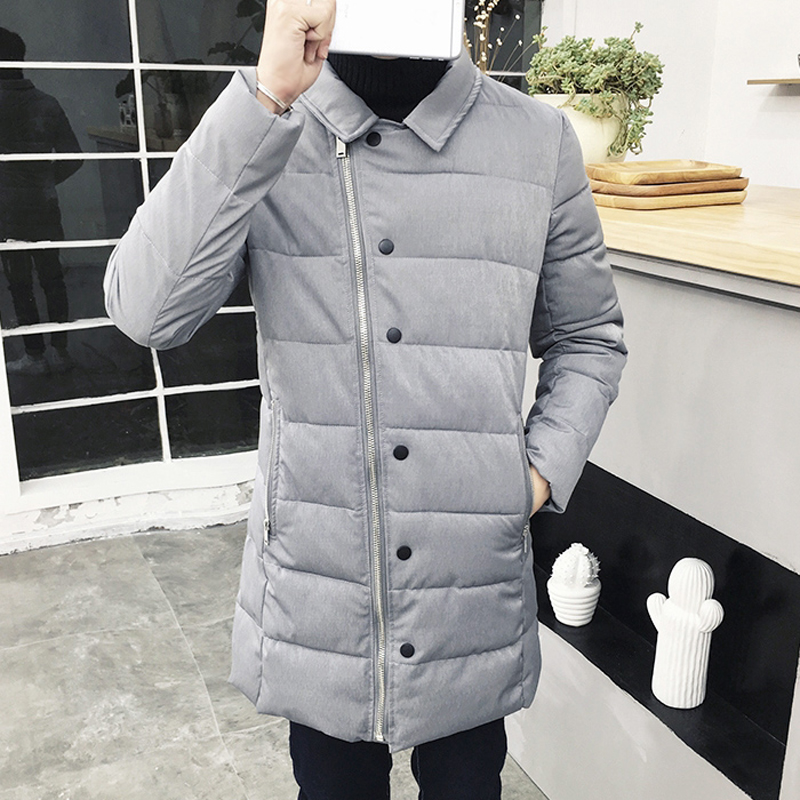 Korean Winter Padded Jacket Men 2016 Fashion Oblique Zipper Long parka hombre black Plus Size 5XL