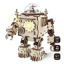 hot deal buy robud 3d puzzle diy action & toy figures assembled wooden jointed robot model for children adult gift music box am601