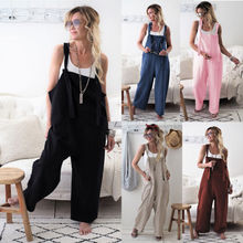 New 2019 Women Casual Overalls Jumpsuit Bib Trousers Linen Dungarees Wide Solid Female Fashion Leg Pants