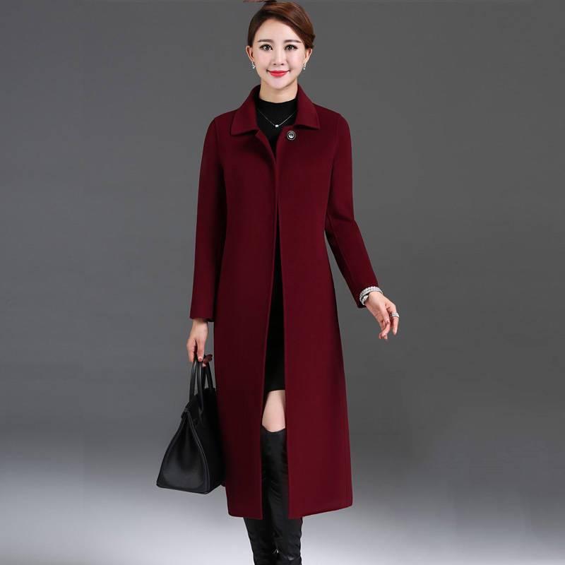 Vestes 2019 Manteau Hiver bourgogne Femme De masha X12 Couleur Noir En Femelle Cardigan Nouveau Col Double Automne Cintrées face Pur Cachemire Purple Solide Long Laine Costume rFPnwArYq